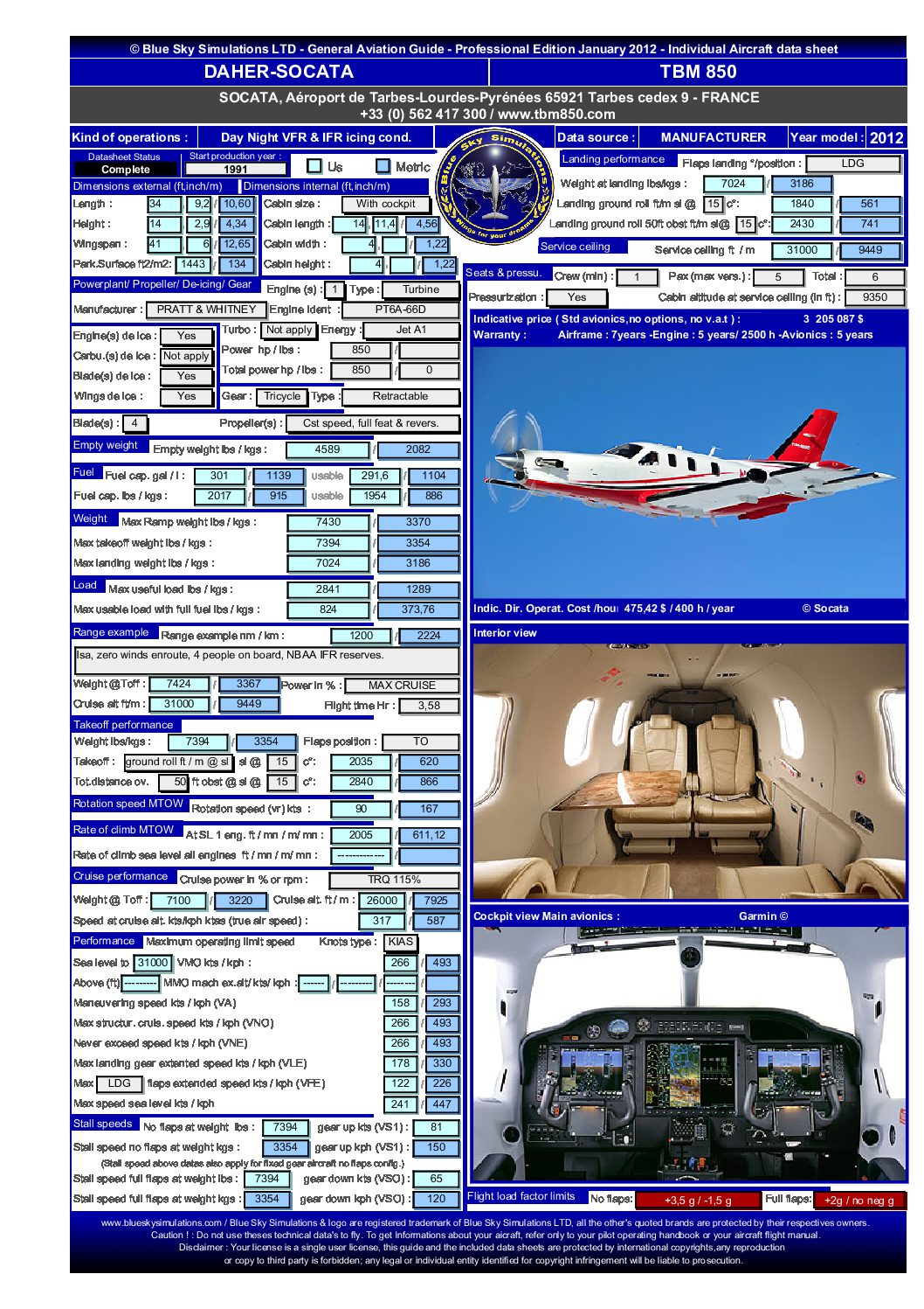 Aviation catalog TBM 850