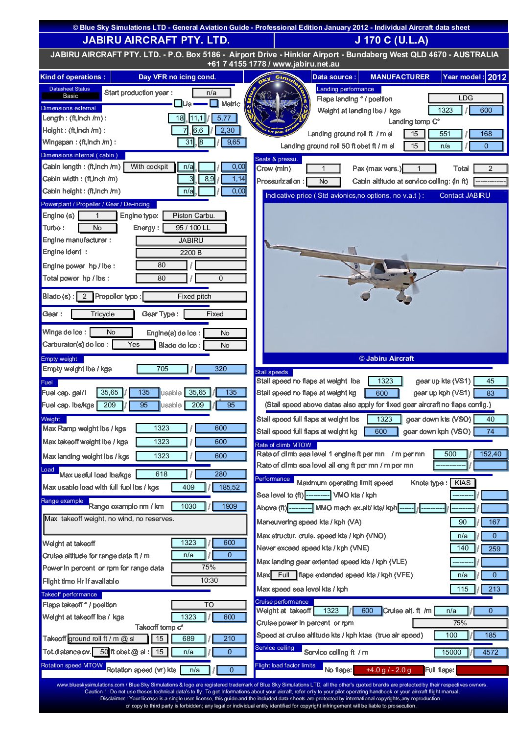 Aviation catalog Jabiru J170